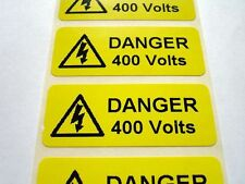 Electrical Safety Warning Labels - 400V Voltage Labels - Yellow 50mm x 20mm