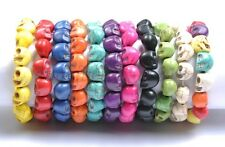 1pcs Turquoise Sugar Skull Charms Beads Elastic Wristband Bracelets Many Colors