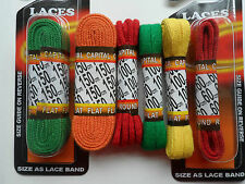 Quality cotton shoe boot trainer laces Red Yellow Orange Green 60cm - 150cm
