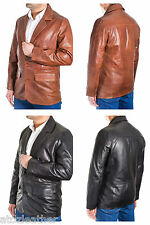 Mens Smart Casual Blazer Tailored Fitted Two Button Classic Real Leather Jacket