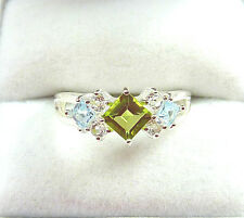 1.32 ctw Natural Peridot & Topaz Solid 925 Sterling Silver Cluster Ring