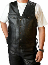 Biker Motorcycle Leather vest,501 Jeans Rockabilly style Leather cowl fair Price