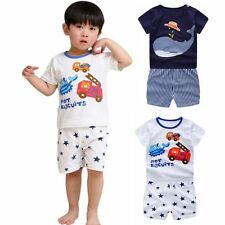Baby Kids Short Sleeve T-shirt + Shorts Pants Trousers Girls Boys Outfit Sets