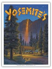 Yosemite Fire Fall Glacier Point Vintage Style World Travel Art Poster Print