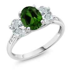 10K White Gold 2.06 Ct Green Chrome Diopside with Diamond Accent 3-Stone Ring