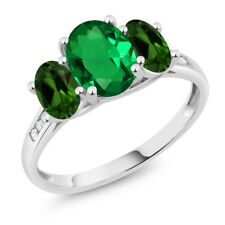 10K White Gold 1.90Ct Green Simulated Emerald Green Chrome Diopside 3-Stone Ring