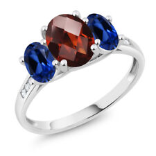 10K White Gold 2.40 Ct Checkerboard Garnet Blue Simulated Sapphire 3-Stone Ring