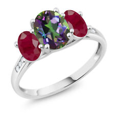10K White Gold 2.50 Ct Oval Green Mystic Topaz Red Ruby 3-Stone Ring