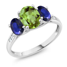 10K White Gold 2.23 Ct Oval Green Peridot Blue Sapphire 3-Stone Ring