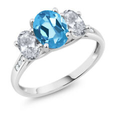 10K White Gold 2.40 Ct Oval Swiss Blue Topaz White Topaz 3-Stone Ring