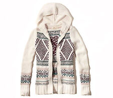 Abercrombie & Fitch – Hollister Womens Sweater Cardigan Zip Hooded S Cream NWT