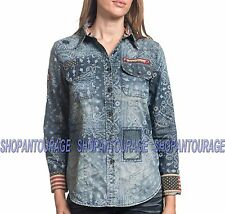 AFFLICTION Paisley 111WV148 Women`s New Indigo Long Sleeve Button-Down Shirt