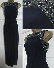 NEW EX Monsoon Moriarty Party Occasion Maxi Dress Cocktail Embellished Navy 8-20