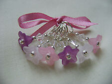 Hand Beaded Pink Purple Flower Stitch Markers for Knitting or Crochet