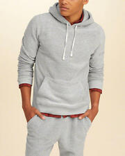 Abercrombie & Fitch – Hollister Mens Textured Fleece Icon Hoodie L XL Grey NWT