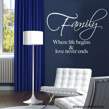 NEW Family Where Life Begins and Love Never Ends Wall Quote Decal