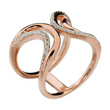 Rose Gold-Plated-Sterling Silver Clear Round Cubic Zirconia Women's Wedding Ring