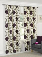 Curtains Plum Ready Made Tape Top Pencil Pleat Lined  Flowery Floral Print New