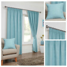 Duck Egg Suede Ready Made Faux Lined Soft Tape Top Pencil Pleat Curtains Living