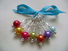 Hand Beaded Bright Rainbow Pearl Stitch Markers for Knitting or Crochet