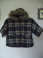 GIRLS MATALAN BLACK/BEIGE/PURPLE CHECKED TARTAN CAPE COAT w HOOD AGE 4-5/6-7/8-9