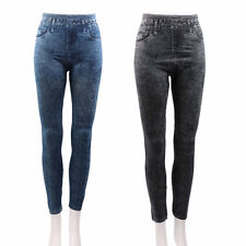 Women Stretch Denim Jean Look Skinny Leggings Slim Jeggings Tight Pants VE