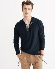 Abercrombie & Fitch Mens T-Shirt Henley Long Sleeve Contrast Placket M Navy NWT