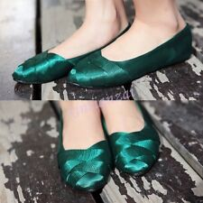 Silk Womens Loafers Knited Moccasin Ballet Flats Sweet Satin Pumps Shoes Casual