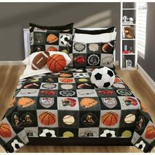 Twin Full Queen King Bed Black Sports Patchwork 3 pc Quilt Set Coverlet Bedding