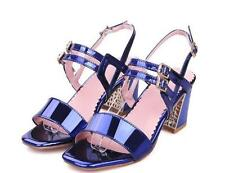 Plus Sz Womens Buckle Belt Sandals Wedding High Heels Open Toe Shoes Pumps Shoes