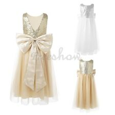 Kids Sequins Bow Occasion Party Princess Prom Pageant Wedding Flower Girl Dress