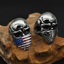 USA American Flag Skull Independence Day July 4th Patriotic Blue Red White Ring