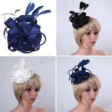 Woman Church Derby Wedding Fascinator Satin Flowers Feather Pillbox Dress Hat