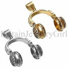 """24"""" Mens Stainless Steel DJ Music Headset Headphones Pendant Chain Necklace Gift"""