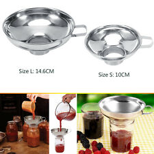 1x Wide Mouth Canning Funnel Hopper Filter Kitchen Cooking Stainless Steel Tools