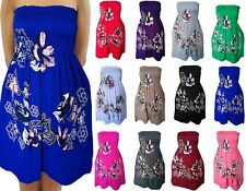 New Ladies Shareeing Top Womens Printed Floral Bandeau Mini Dress Top Plus Size