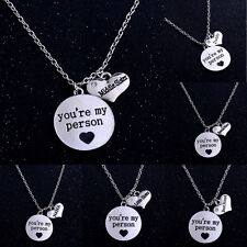 You Are My Person Crystal Heart Pendant Necklace Charm Jewelry Dad Mom Sister