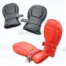 Padded Lined Leather Locking Fist Mitts Glove Restraint Mittens Dog Palm Role