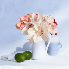 6 Heads Real Touch Latex Orchid Artificial Flowers White Wedding Bridal Bouquet