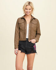 Abercrombie & Fitch - Hollister Jacket Womens Faux Suede Boho Tan XS M or L NWT