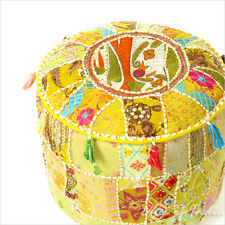 """22 X 12"""" Yellow Patchwork Round Ottoman Pouf Pouffe Cover Floor Seating Bohemian"""