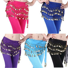 Womens Dancers Belly Dance Hip Skirt Scarf Wrap Belt With 128 Golden Coins