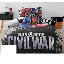 Black Red Blue Civil War Print Quilt Duvet Doona Cover Set Bedding Bed Boys Kids