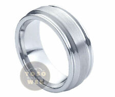 Men's 8mm Pipe-Cut Tungsten Ring w/ Double Grooved Side & Brushed Center TS0420