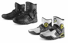 "ICON ""ACCELERANT"" MOTORCYCLE BOOTS REAR ENTRY ZIP LEATHER - CHOOSE SIZE & COLOR"