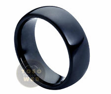 Men's 8mm Pipe-Cut Edge High Polished Black Ion Plated Tungsten Ring TS0770