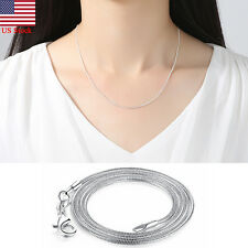 925 Sterling Silver Plated Snake Chain Stamp 1 MM Necklace 16-30 Inches Chain
