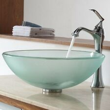 Kraus C-GV-101FR-12mm-15000CH Frosted Glass Vessel Sink Ventus Faucet Chrome