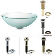 Kraus GV-101FR-G Frosted Glass Vessel Sink PU-MR Drain Gold