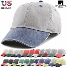 Pigment Dyed Two Tone Low Profile Cotton Six Panel Baseball Cap Hat